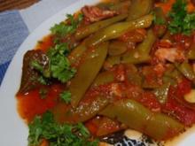 Stangenbohnen mit Tomaten        (Fagiolini verde con i pomodori e le patate) - Rezept