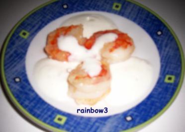 Zwischensnack: Knoblauch-Garnelen mit Joghurt-Dip - Rezept