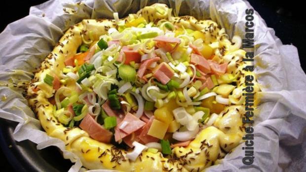 Quiche-Fermière à la Marcos mit Salatbeilage - Rezept - Bild Nr. 5