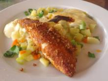 Seelachs in Vollkorn-Curry-Kruste auf Lauchkartoffelgratin - Rezept