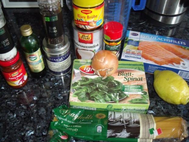 Lachs mit Spaghetti in Kokos-Spinatsauce - Rezept - Bild Nr. 2