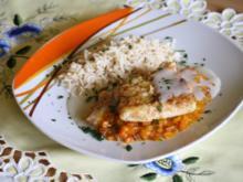 Fischfilet auf Mango-Relish und Vanille-Kokos-Sauce - Rezept