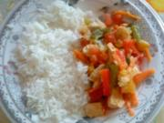 Hähnchen - Gemüsestreifen mit Basmatireis - Rezept