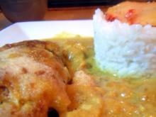 Überbackenes Curry-Pfirsich-Hähnchen - Rezept