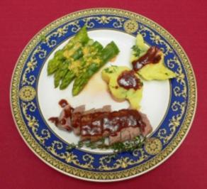 Lammlachse mit Butterkartoffelkuchen und peruanischem Spargel - Rezept