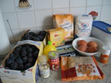 Kuchen: Pflaumenkuchen mit Mandelstreusel und Zuckerguss - Rezept