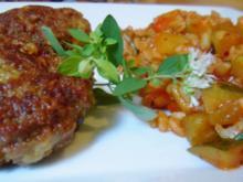 Curry-Bouletten mit Paprika-Zucchini-Weizen - Rezept