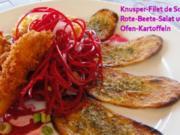 Knusper-Sole-Filet auf rohem Rote-Beete-Salat mit Kraeuter-Ofenkartoffeln - Rezept