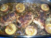 Hähnchenschenkel mit Sektschwips, Rosmarin und Pfirsischen - eine leckere Pfanne - - Rezept