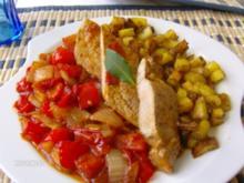 Schnitzel mit mediterraner Beilage - Rezept