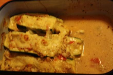Gefüllte Zucchini mit Kabeljau - Rezept