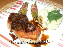 Schweinerückensteak mit Balsamico-Zwiebeln und als Beilage - Rezept
