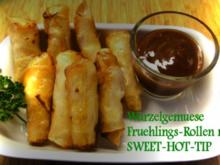 Wurzelgemuese-Fruehlings-Roellchen-Vegetarisch mit Sweet and Hot-Tip - Rezept