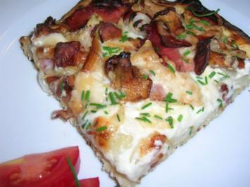 Pizzafladen mit Pfifferlingen, rohem Schinken und Ziegengouda (für Petra!!!) Du darfst ... - Rezept