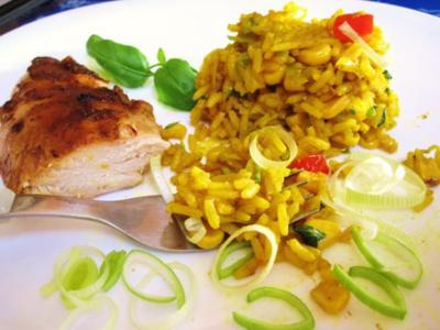 Curry-Reis mit Lauch und Mais ... - Rezept