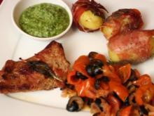 Patate di salvia e timo e prosciutto di San Daniele, scaloppina di vitello alle olive, bas - Rezept