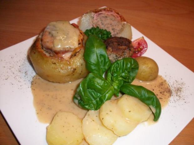 Kohlrabi gefüllt mit Hachfleisch und  Kochschinken Käse Haube...Salzkartoffeln u.Soße... - Rezept - Bild Nr. 6