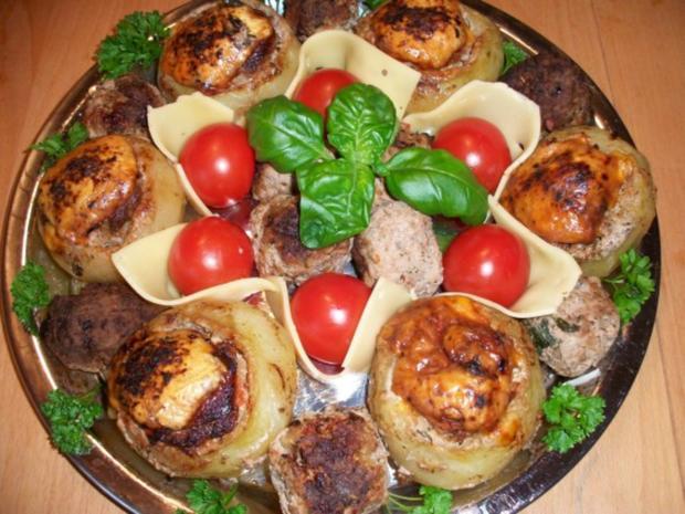 Kohlrabi gefüllt mit Hachfleisch und  Kochschinken Käse Haube...Salzkartoffeln u.Soße... - Rezept - Bild Nr. 4
