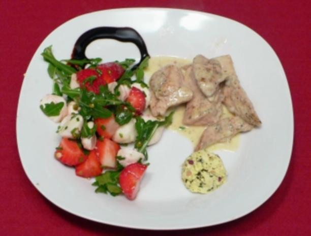 Erdbeer-Mozzarella-Salat an Hähnchenbrust - Rezept