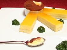 Passionsfrucht-Tarte an Orangenparfait und Basilikum-Minz-Pesto - Rezept