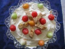 Dessert: Mascarpone-Ricotta-Creme mit Melonen - Rezept