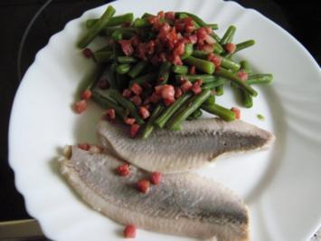 Matjesfilet mit grünen Bohnen und Speckstippe - Rezept