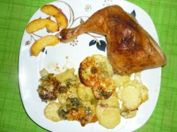 Gebackene Hähnchenkeulen auf Kartoffeln - Rezept