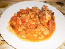 Rahmmedaillons in Tomaten-Bohnensauce - Rezept