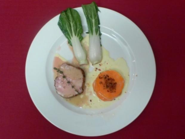Milchkalbskarree mit Pak-Choi-Gemüse und Gratin von Süßkartoffeln polnische Art - Rezept