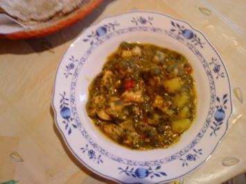 Hähnchen mit Spinat und Kartoffeln - Rezept