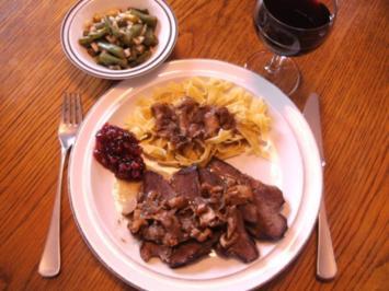 Fleisch: Rinderherz geschmort mit frischen Mischpilzen - Rezept