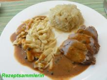 Fleisch:    SCHWEINEFILET an Pfeffersahnesauce - Rezept