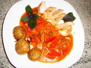 Hähnchenbrust mit Paprika-Champignon-Olivensoße - Rezept