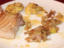 Iberico-Schwein mit Kartoffel-Mandelpüree und Artischocken - Rezept
