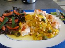Hähnchenbrustfiltlets mit Ziegenkäse gefüllt und gerollt NT in einer Obst-Currysauce  NT - Rezept