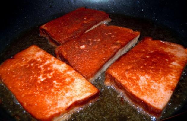 Gebratener Leberkäse mit Champignon-Senf-Sauce und scharfen Kartoffeln - Rezept - Bild Nr. 5