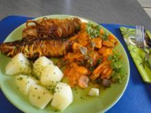 Gewickelte Bratwurst mit Möhrengemüse abgeschmeckt mit dem Gewürzsalz von Dieter, danke - Rezept