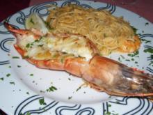 Gamba grande mit Spagetti Olio con Aglio - Rezept