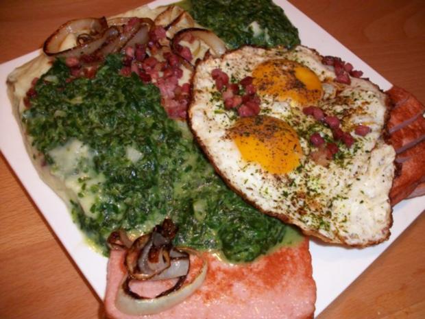 Nord trift auf Süd. Leberkäse mit Stampfkartoffeln, Spinat und sauren Spiegelei - Rezept - Bild Nr. 3