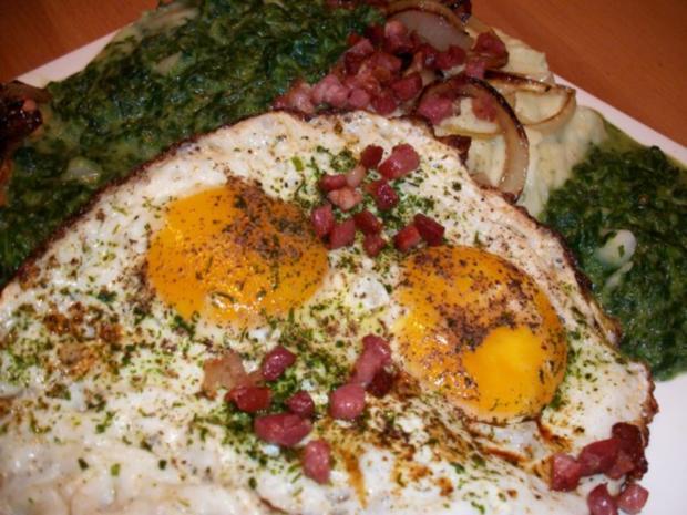 Nord trift auf Süd. Leberkäse mit Stampfkartoffeln, Spinat und sauren Spiegelei - Rezept - Bild Nr. 4
