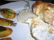 Schweinesteaks auf Kohlrabi mit Mozzarella überbacken an Hinguck Kartoffeln - Rezept