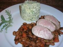 Schweinefilet sanft gegart auf Borlotti-Bohnen an Kräuter Püree - Rezept