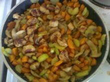 Gemüsepfanne mit Putengrillies - Rezept