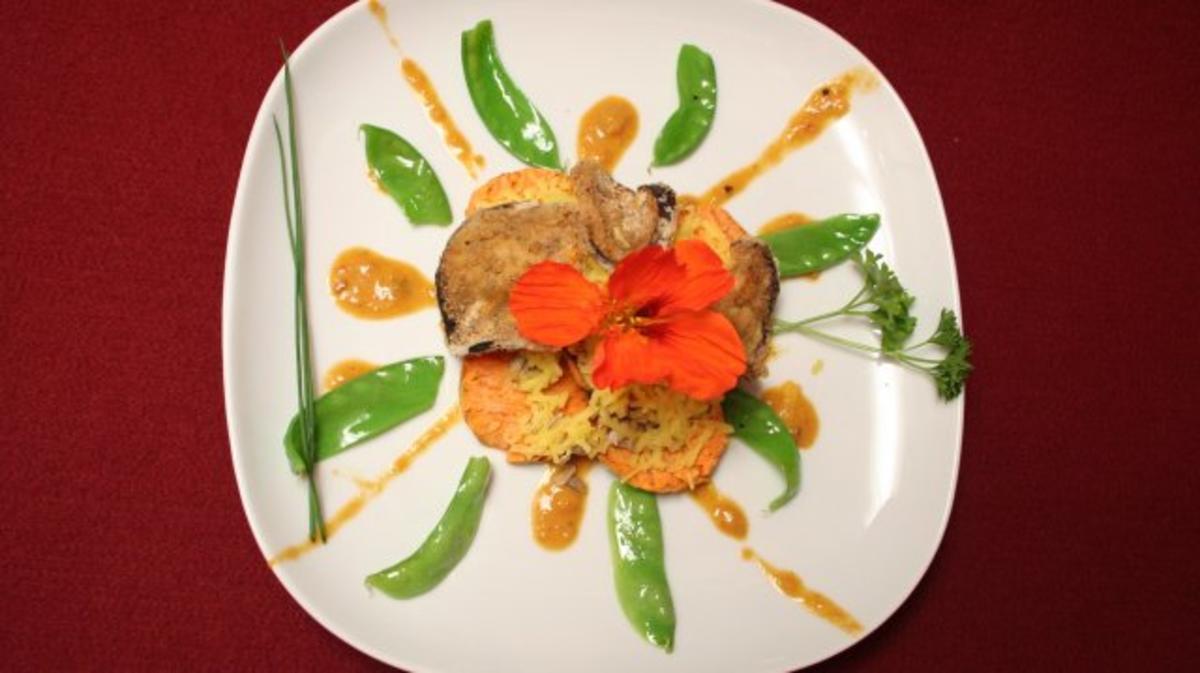 Süßkartoffel-Taler mit Auberginen-Hippen auf Zuckerschoten-Strahlen - Rezept Eingereicht von Das perfekte Dinner