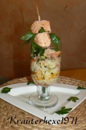 Lachsfilet am Spieß im Gemüse-Reisfeld - Rezept