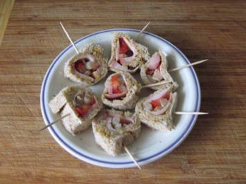 Snack - gefüllte Sandwich-Röllchen - Rezept