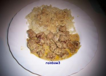 Kochen: Putenpfanne mit Senfsauce zu Gewürz-Reis - Rezept