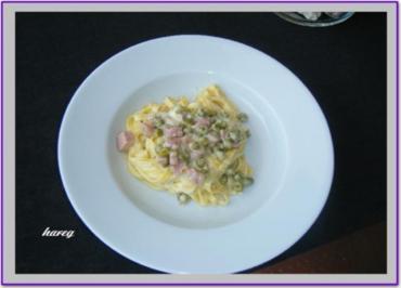 Tagliatelle in Schinken-Sahne-Käse-Soße - Rezept