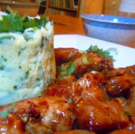 Teriyaki-Hähnchen mit Kartoffel-Koriander-Püree - Rezept