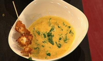 Karotten-Ingwer-Suppe mit Garnelen-Spieß (Christian Kahrmann) - Rezept